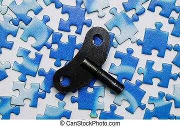 藍色, 難題, 鑰匙