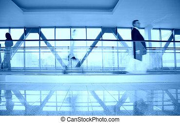 藍色, 電動扶梯, 在, 走廊