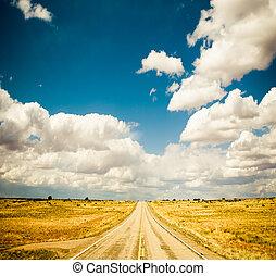 藍色, 震動, 圖像, 天空, 高速公路