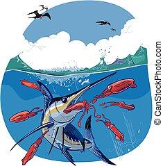 藍色, 馬林魚, 追逐, 紅色, 魷魚, 矢量, 插圖