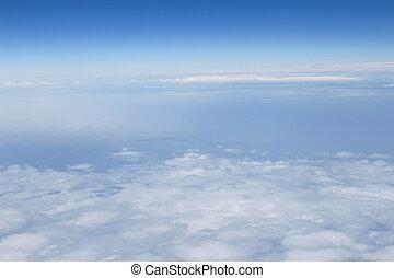 藍色, 高, 云霧, 天空, 形狀, 飛機, 看法