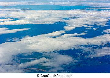 藍色, 高, 陸地, 云霧, 天空, 看見, 形狀, 下面, 飛機, 看法