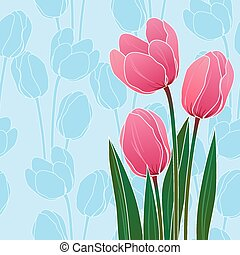 藍色, 鬱金香, 摘要, 插圖, 背景, 植物