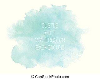 藍色, 鮮艷, 摘要, 背景。, 矢量, 綠色, waterc, 軟
