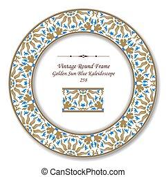 藍色, 黃金, 太陽, 框架, retro, 葡萄酒, 輪, 萬花筒