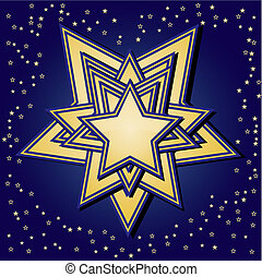 藍色, 黃金, 星, 背景