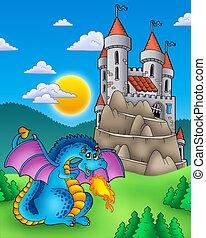 藍色, 龍, 由于, 城堡, 上, 小山