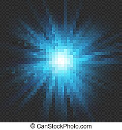 藍色, 10, 星突發, effect., 閃光, 被隔离, eps, 背景。, 輕的爆炸, 透明, 發光
