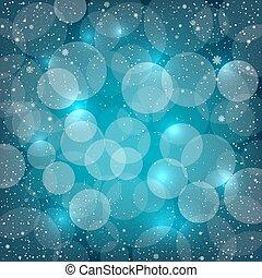 藍色, bokeh, 雪, 背景