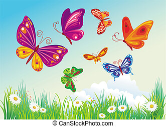 藍色, butterfly's, 背景