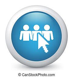 藍色, icon., 矢量, 有光澤