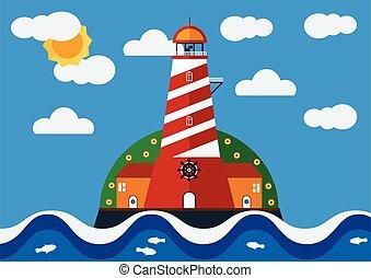 藍色, ighthouse, 海