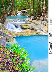 藍色, kanjanaburi, 瀑布, 溪, 泰國, 森林