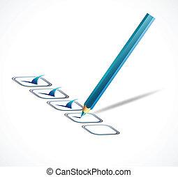 藍色, list., 矢量, 檢查, 插圖