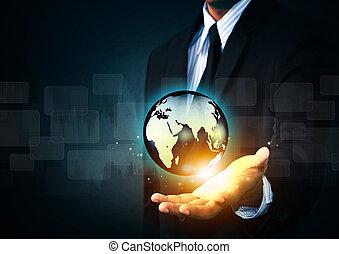 藏品, 發光, 地球全球, 在, 手