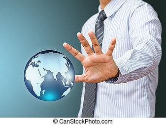 藏品, a, 發光, 地球全球, 在, 事務, 手