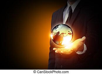 藏品, a, 發光, 地球全球