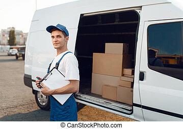 藏品, deliveryman, 包裹, 交付, 制服