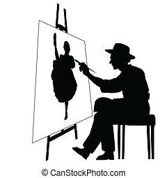 藝術家, 由于, 畫架