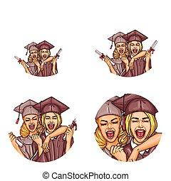 藝術, 圖象, 女孩, 畢業, 矢量, 流行音樂, 黨, avatar