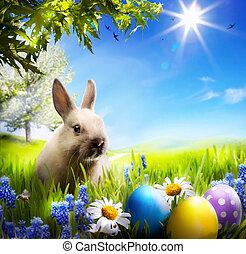 藝術, 很少, 復活節bunny, 以及, 復活節蛋, 上, 綠色的草