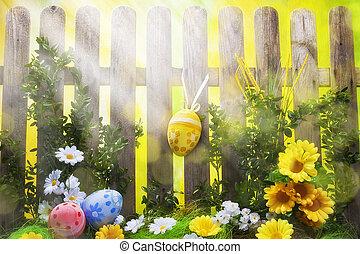 藝術, 復活節, 背景, 由于, 柵欄, 蛋, 春天花
