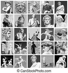 藝術, 拼貼藝術, 做, ......的, 雕刻品, ......的, 佛羅倫薩, italy, 歐洲