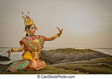 藝術, 文化, 泰國, 跳舞, 在, 戴面具, khon, benjakai, 在, 文學, ramayana