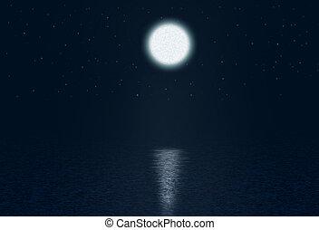 藝術, 星, 摘要, 月亮, 水, 背景, 夜晚, 在上方