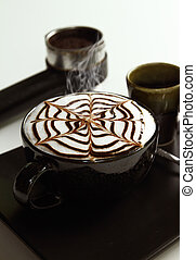 藝術, 杯子,  latte, 熱, 背景, 白色
