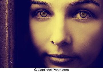 藝術, 肖像, ......的, 神祕, 婦女, 由于, 鬼, 眼睛
