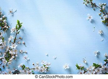 藝術, 花, 春天, 背景, 白色, 邊框