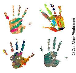 藝術, 蹤跡, 顏色, 手, 畫, 工藝, 印刷品