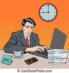 藝術, work., 疲倦, 被蕭條, 工人, laptop., 插圖, 后來, 流行音樂, 矢量, stayed, 商人