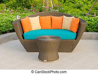 藤條, 扶手椅子, 家具, 在, 花園