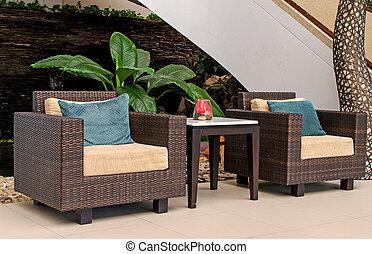 藤條, 扶手椅子, furniture.