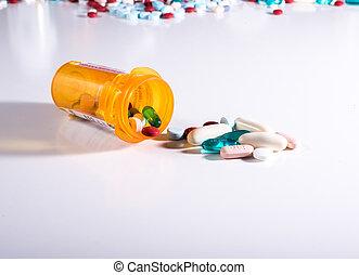 藥丸瓶子, 濺出, a, 品種, ......的, 藥物療法