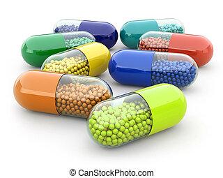 藥丸, 以及, 藥物, 在懷特上, 被隔离, bacground., 醫學, concept.