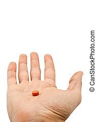 藥丸, 在, a, 手, 被隔离, 在懷特上, 背景