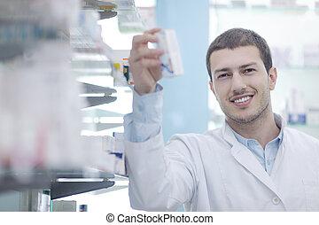 藥劑師, 化學家, 人, 在, 藥房, 藥房