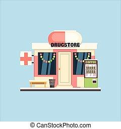 藥房, 前面, 在, 圣誕節。, 矢量, 插圖