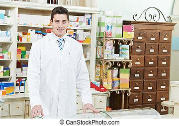 藥房, 化學家, 人, 在, 藥房
