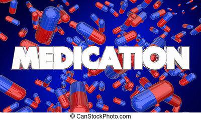 藥物處理, 藥丸, 膠囊, 醫學, 治療, 藥丸, 3d, 插圖