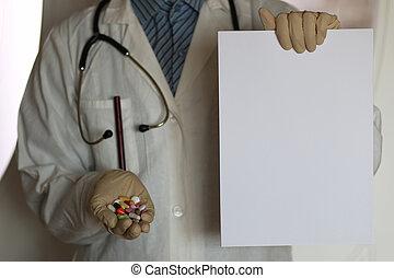 藥物, 在, 醫生, 手