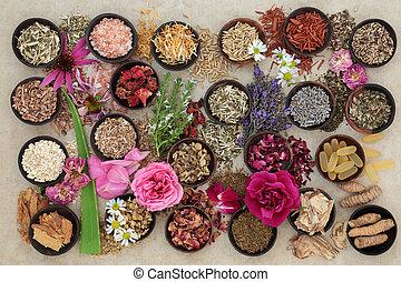 藥草, 以及, 花, 為, 皮膚, 混亂