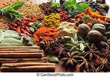 藥草, 以及, spices.
