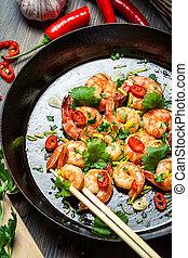 藥草, 新鮮, 平鍋, 蝦