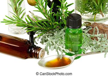 藥草, (rosemary, 以及, santolina), 為, 醫學, 在懷特上, 背景
