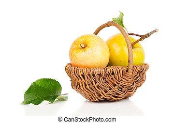 蘋果, 在, a, 籃子, 在懷特上, 背景
