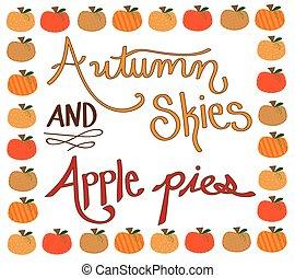 蘋果, 秋天, 邊框, 餅), 天空, 南瓜